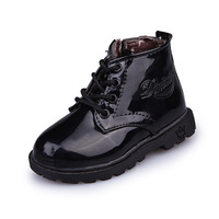 2018 European Candy Color Patent Leather Children Boots High Quality Lace Up Girls Boys Shoes Fashion