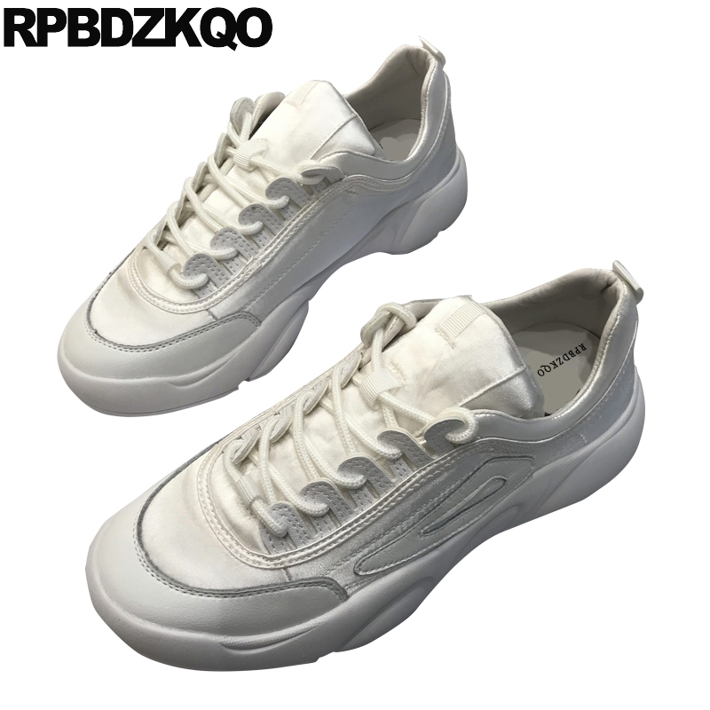 Baskets blanches chaussures muffin baskets harajuku creepers chaussures plate-forme femmes designer ascenseur satin semelle épaisse appartements rose