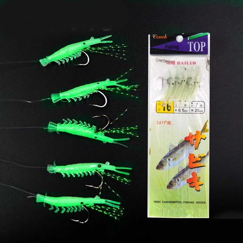 5pcs soft simulation prawn shrimp fishing luminous lure for Glow in the dark fishing spinners