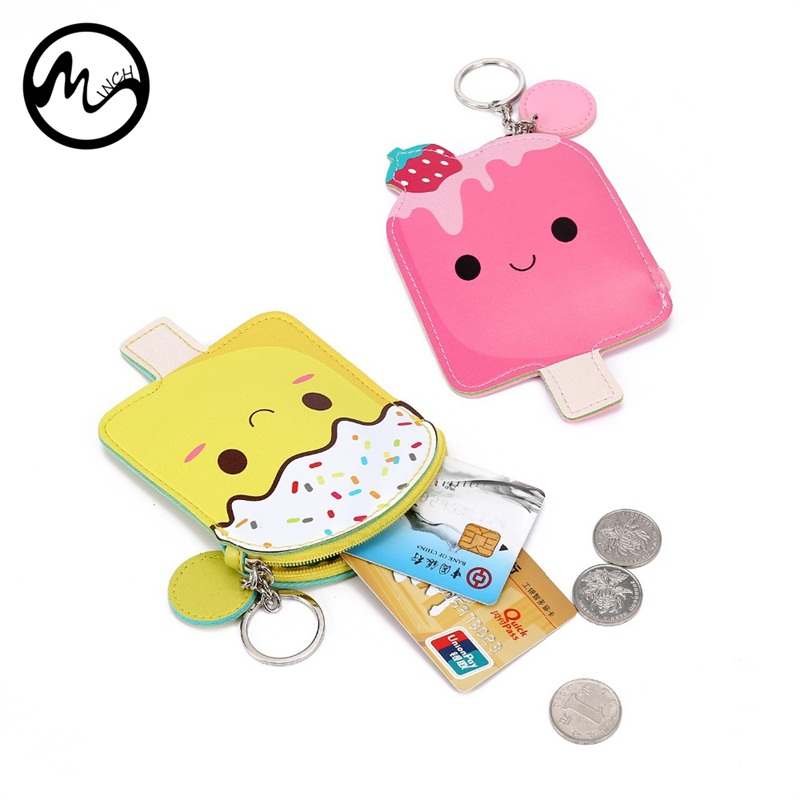 MINCH Cute Mini Coin Purse Ice Popsicle Women Small Wallets Cartoon Zipper Clutch Key Ring Money purse Gift For Girls