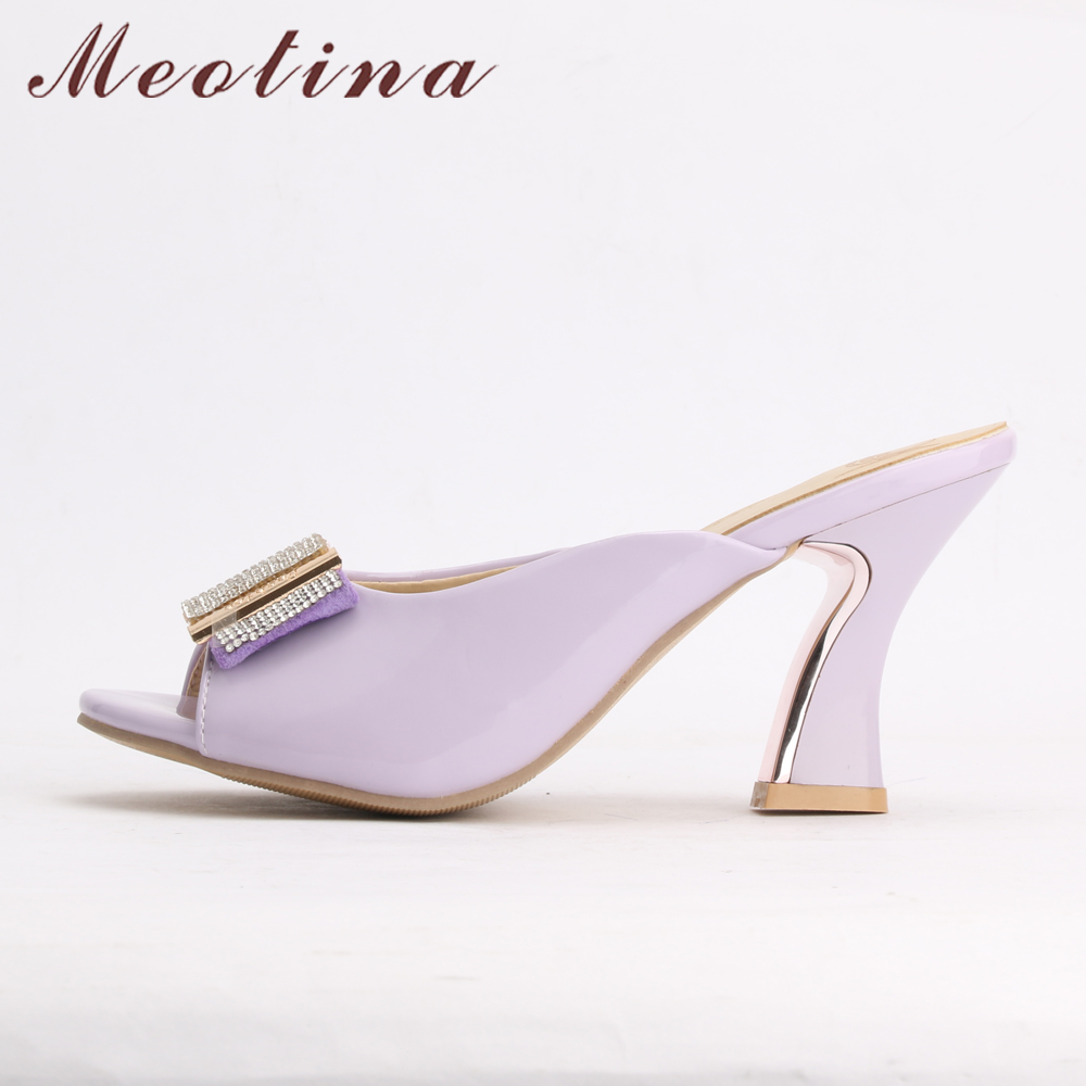 af4c2c702812b Meotina Shoes Women Sandals Summer Peep Toe Slides Chunky High Heels  Crystal Beading Slippers Ladies Shoes Pink White 34 39-in High Heels from  Shoes on ...