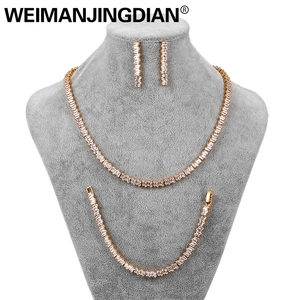 Image 2 - WEIMANJINGDIAN New Arrival Set of 3 Princess Cut Cubic Zirconia Tennis Necklace Earrings and Bracelet Bridal Wedding Jewelry Set