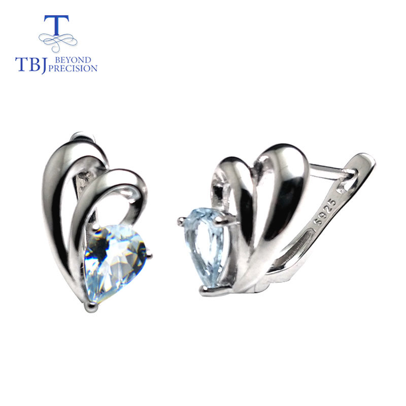 TBJ Cute small simple earring with natural aquamarine gemstone in 925 sterling silver fine jewelry for