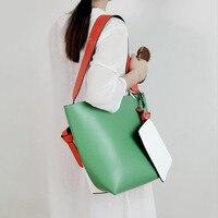 Mujeres Remiendo de la manera Bucket Bag Casual Simplemente Europa Estilo Golpe Color Del Bolso de Embrague Y El Bolso de Hombro de Gran Capacidad Sac