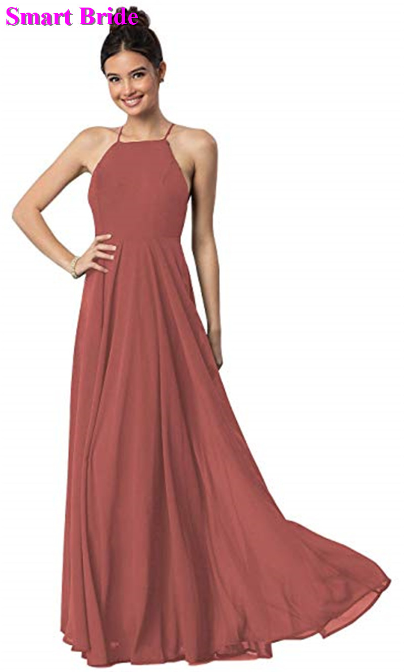 Chiffon   Bridesmaid     Dress   A-line Teal Burgundy Long Floor Length Party Open Back Guest   Dresses   Simple Gowns BE02
