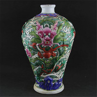 #06Rare Chinese QingDynasty porcelain vase,Pastel glaze,Carved dragon,Collection&Adornment,Free shipping