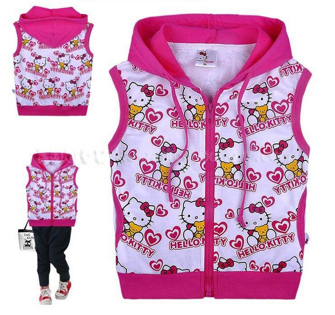 Hello kitty vest,new 2014,children clothing,baby girl waistcoat,bebe,baby wear,children hoodies,children outerwear,sport suit