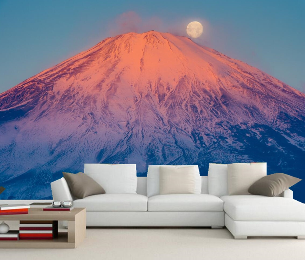 Custom mural Japan Mount Fuji Volcano Moon Nature photo wallpaper,living room tv sofa wall bedroom restaurant  papel de parede 3d mural papel de parede purple romantic flower mural restaurant living room study sofa tv wall bedroom 3d purple wallpaper