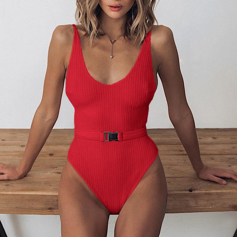 Одноцветный купальный костюм с бретельками, модель 2020 года, сексуальный купальник для женщин, с поясом, с высокой посадкой, пляжная одежда, u-... 26