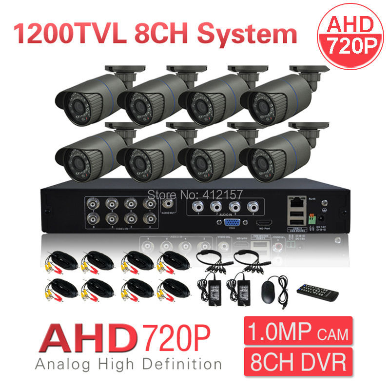 CCTV outdoor indoor 8CH Security Bullet Camera DVR System HD AHD 720P HDMI Color Video Surveillance Kit Motion Detection greatech hd 8 channel ahd dvr kit 720p video surveillance security outdoor indoor cctv 8 cameras 1200tvl ahd system 8ch