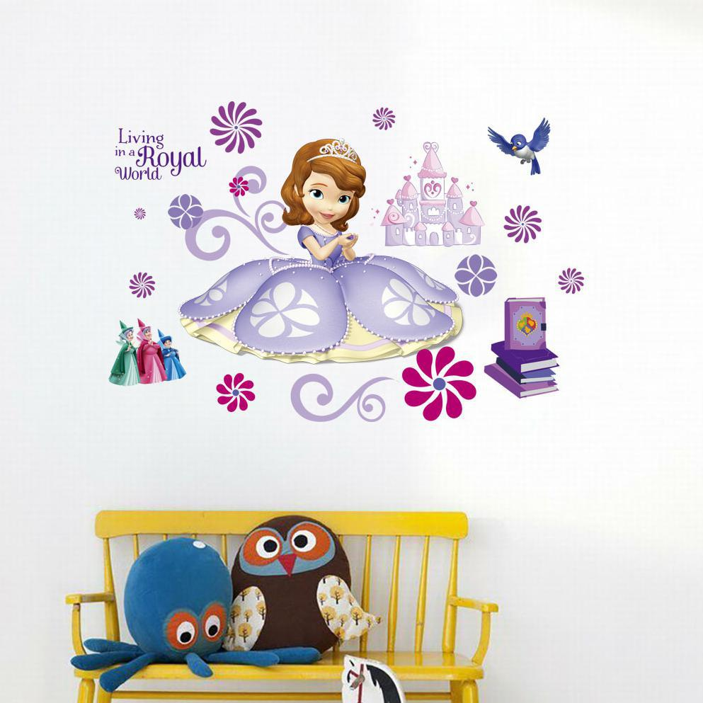 New 3D Sophia Princess Girl Wall Stickers For Kids Rooms Decals Vinyl Tree Wall Decals Border Tiles For Bathrooms Baby Stickers ...