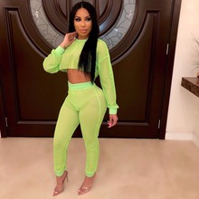 SKMY plus size two piece set neon mesh long sleeve crop top and high waist pants summer women black sexy fishnet club outfits