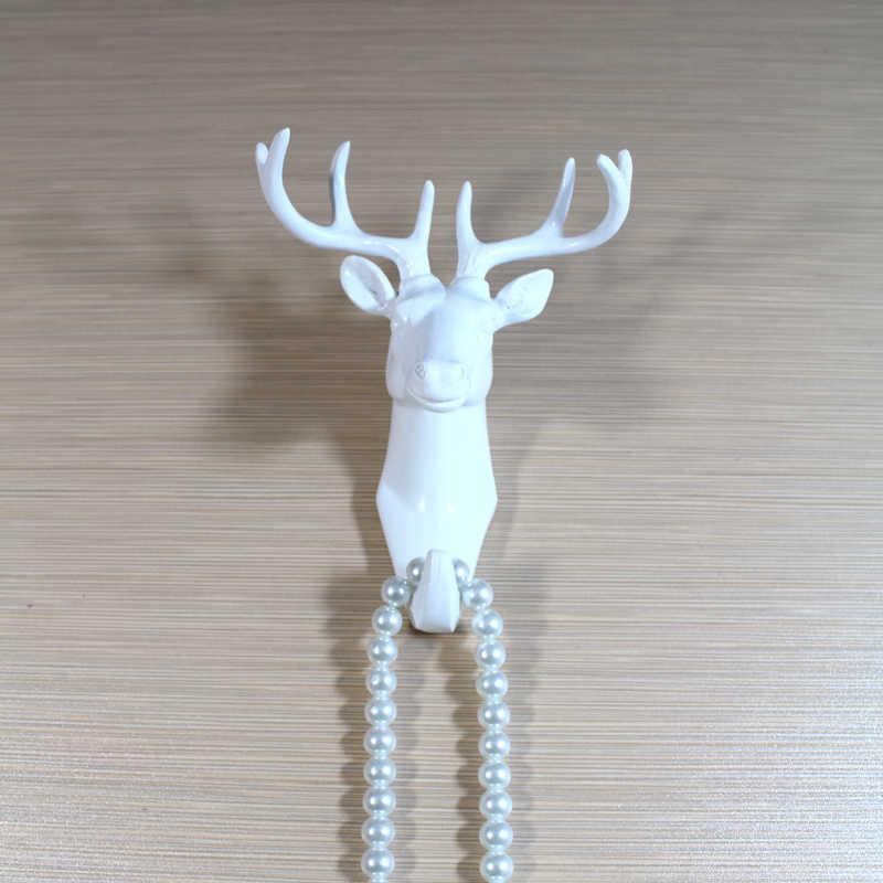 1 ピース北欧スタイルホワイト動物壁ハンガー枝角ヤギ馬ヘッドフックコートハンドバッグキー服