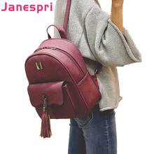 JANESPRI 2018 New Tassel Women Backpacks PU Leather Lady Backpacks High Quality Fashion Girls Backpack Cute School Bag Mochilas women backpack cute fashion rose embroidery flower backpacks for teenagers 2018 high quality pu women s bag mochilas school bags