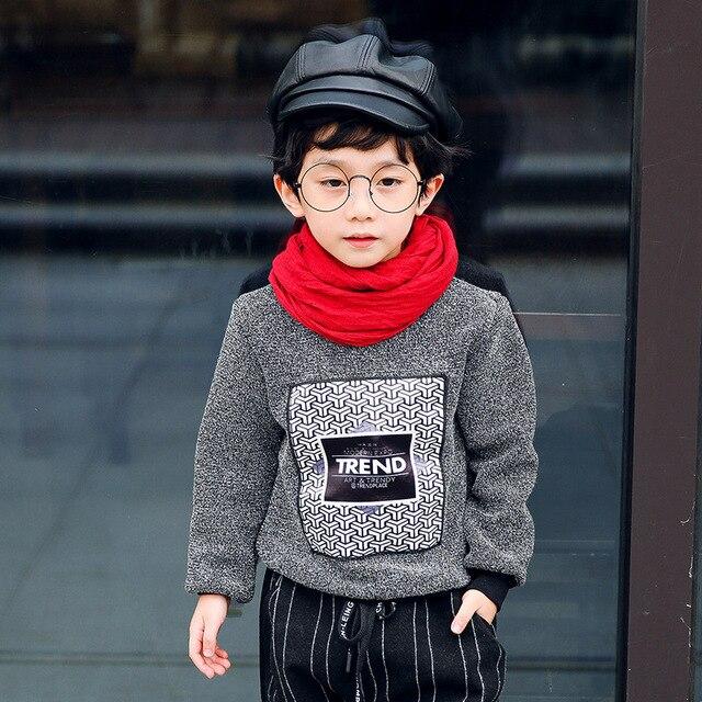 Мальчики Одежда Зима свитер теплый толстый 2016 новый стиль моды детская одежда с письмо печати A266