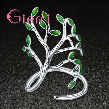 Top Quality Vintage 925 Sterling Silver Ring Women Men Enameled Green Leaves Tree of Life Trendy Party Wedding Jewelry 3