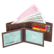 J.M.D  Guaranteed Genuine Leather Money Purse With Coin Pocket Mini Wallet Credit ID Card Package Case R-8164-3R