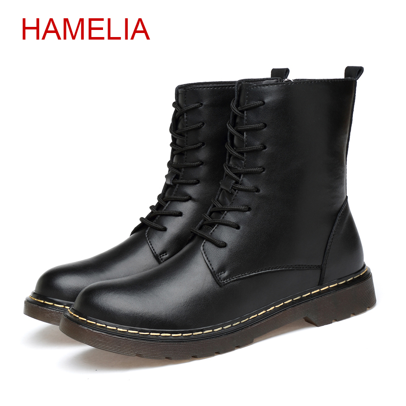 Hamelia Size 35-47 Men Snow Boots Genuine Leather Zip Winter Cow Leather Fur Warm Mens Martin Boots Fluff Oxfords Outdoor Zipper стоимость