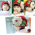 Высокое качество 1 - 2 лет новорожденных девочек шапочка красная шапка крючком популярного выдолбите конструкция крышки нажмите