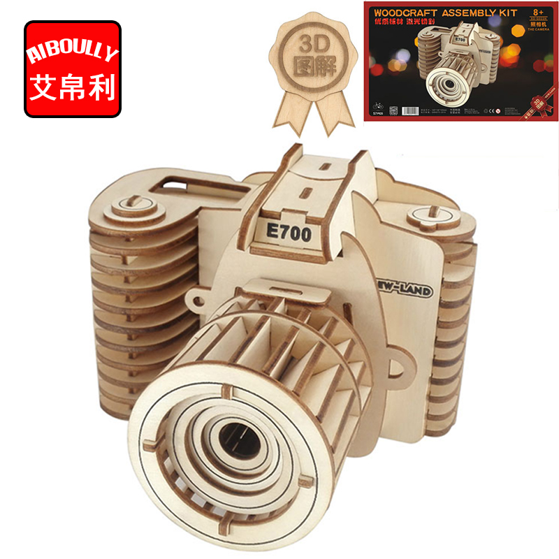 camera decoration 3D Wooden Puzzle Kids Educational Toys DIY Paper Puzzles Jigsaw Model Toys For Children 3d wooden revolver gun army fans military enthusiasts jigsaw puzzle toy for diy handmade puzzles weapon educational wooden toys