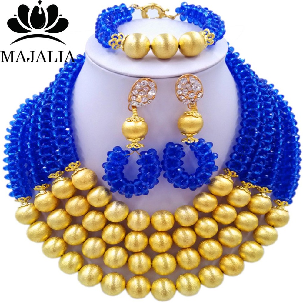 Majalia Fashion Blue Nigerian Wedding African Jewelry Set Crystal Necklace Bride Jewelry Sets Free Shipping 3LI008 majalia fashion beige nigerian wedding african jewelry set crystal necklace bride jewelry sets free shipping 3li004