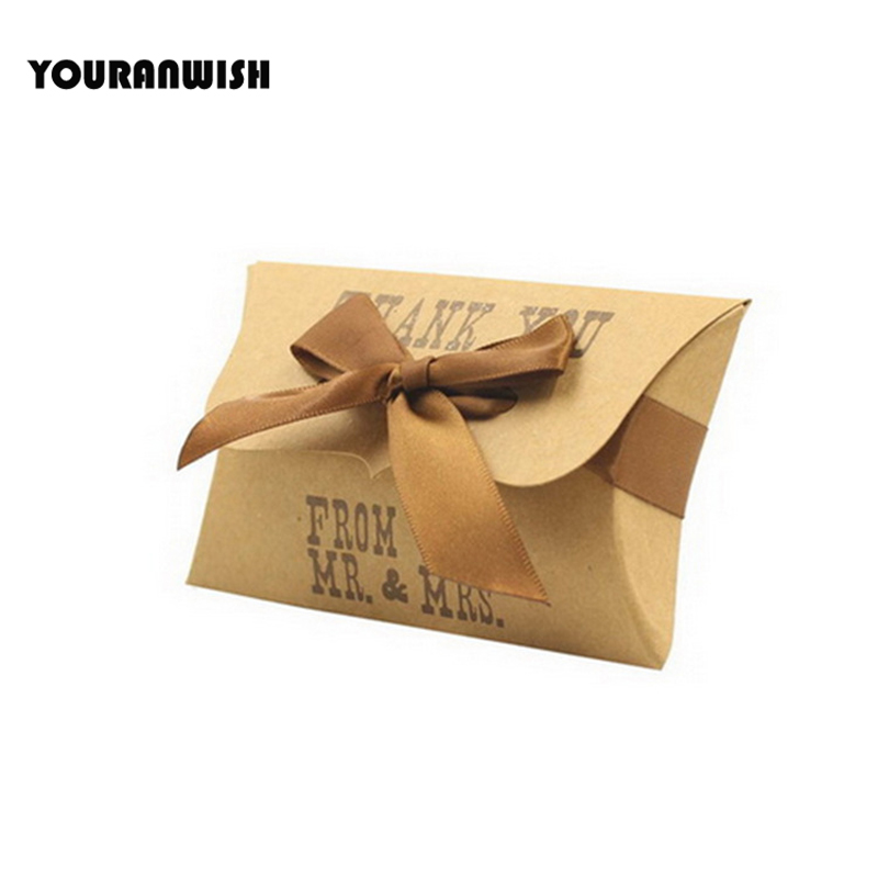 New Mr,Mrs Kraft Paper Favor Pillow Candy Box Gift Box With Ribbon Wedding Favor Box Party Candy Boxes 50pcs/lot Free shipping