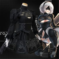 Nier Automata Yorha 2B Cosplay Suit Anime Women Outfit Disguise Costume Set Chinese Size Fancy Halloween Girls Party Black Dress