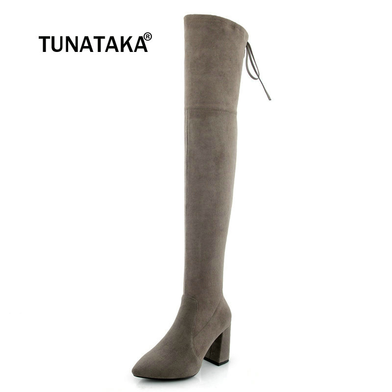 Winter Lady Suede Thick High Heel Over The Knee Boots Fashion Side Zipper Pointed Toe Elastic Thigh Boots Black Gray
