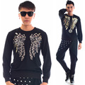 New Style Sequins Male Slim Long-Sleeve T-Shirt Men's Fashion Costumes Ds Dance Stage Performance Wear Tops