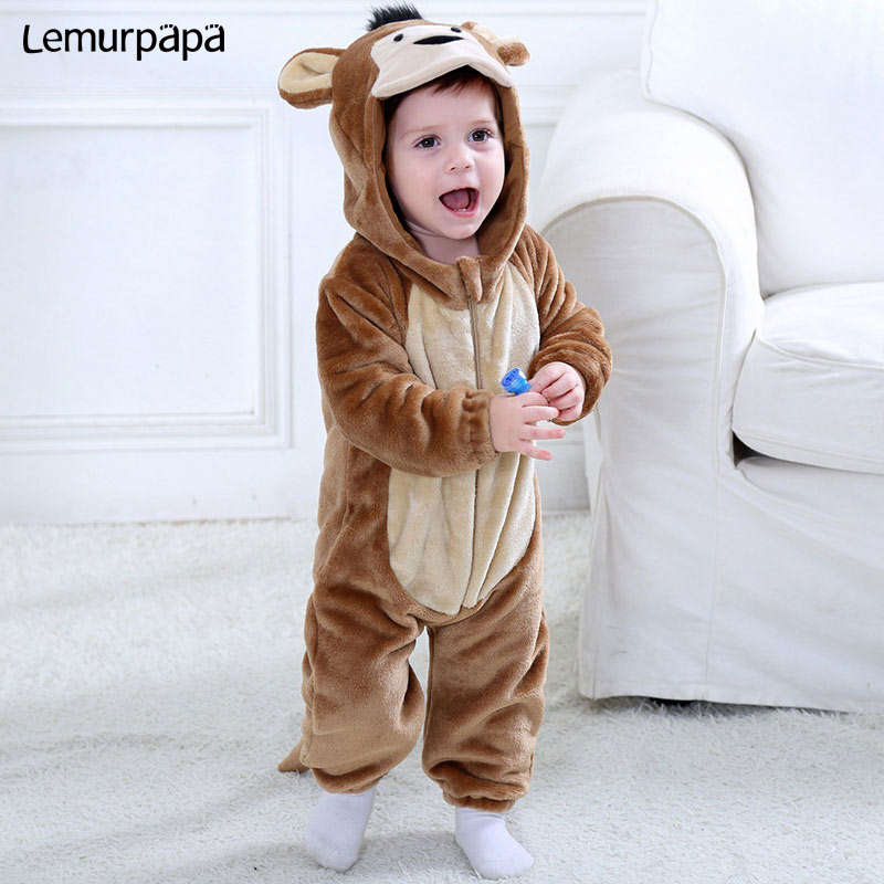 Baby Romper Monkey Kigurumi Onesie Brown Soft Infant Winter Clothes Animal Cartoon Funny Jumpsuit Toddler Boy Girl Party Fancy