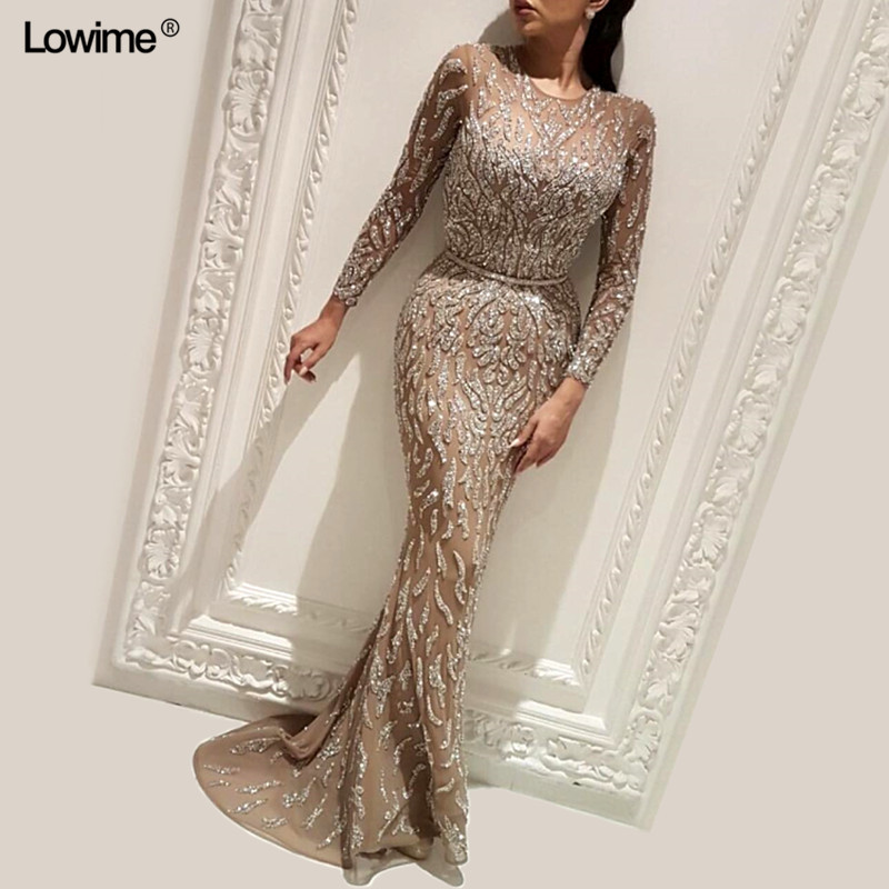 Sexy Arabic Dubai Muslim Sequined   Evening     Dresses   Long Abendkleider Scoop   Evening   Gown Prom   Dress   Long 2018