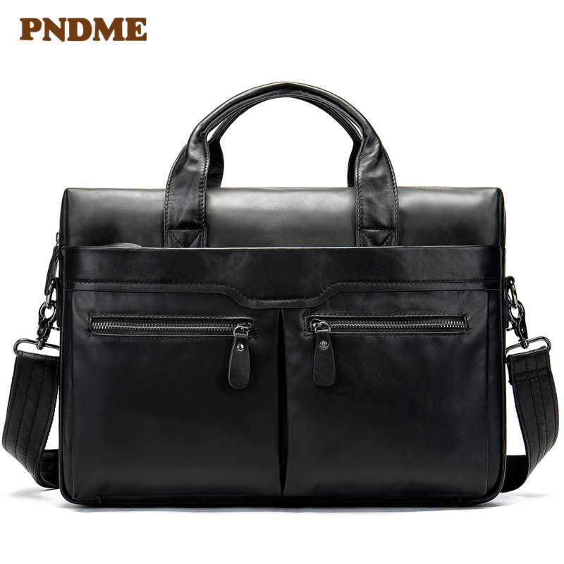 Man's Handbag One Shoulder Briefcase Leather Business Bag Leisure Head Layer Cowhide One Shoulder Bag Man