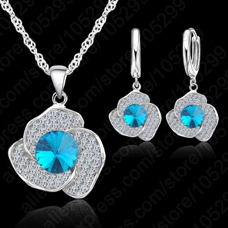 Clear Cubic Zircon Pendant  925 Sterling Silver Necklace/Earring Jewelry Set Women Wedding Jewelry