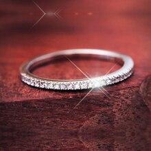 Simple anillo de media eternidad wedding band delgado partido micro pave AAA Cubic Zirconia Anillo Para Las Mujeres Joyería de Plata Esterlina 2016 Anel