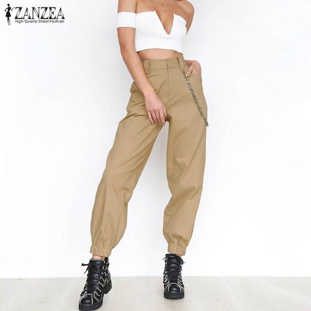 ff3d5ac2166f 2018 Plus Size ZANZEA Summer Women Casual Elegant Solid High Elastic Waist  Baggy Long Trousers Harem
