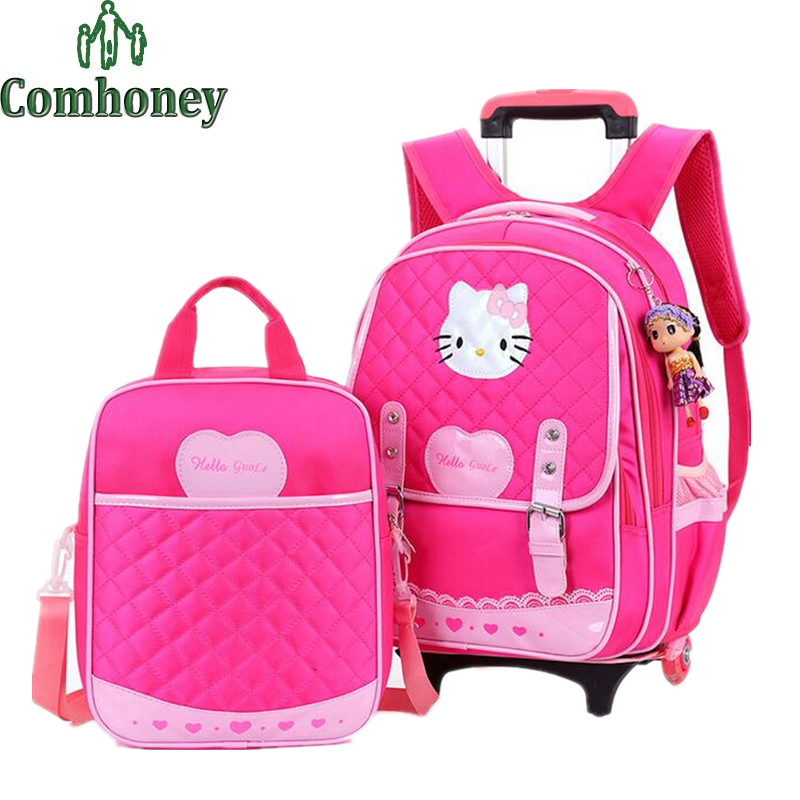 kids trolley school bags for girls hello kitty suitcase on
