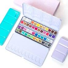 Najwyższej jakości przenośny 12/24/48 kolory perłowy brokat farby akwarelowe zestaw blaszane pudełko pigmenty stałe zestaw farb paleta dla studentów