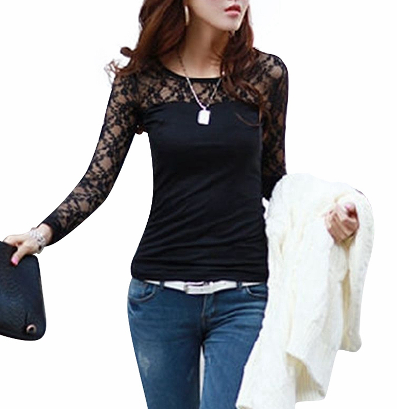Blusas Femininas 2015 Spring Autumn Womens Fashion  Slim Shirt Tops Lace Long Sleeve O-Neck Leisure Blouse Black/White S-2XL