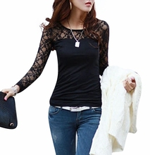 Blusas Femininas 2015 Spring Autumn Womens Fashion Sexy Slim Shirt Tops Lace Long Sleeve O-Neck Leisure Blouse Black/White S-2XL