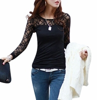 Blusas Femininas 2015 Spring Autumn Womens Fashion Sexy Slim Shirt Tops Lace Long Sleeve O Neck