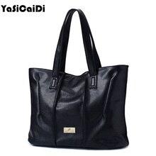 Casual Hochwertigem PU Leder Frauen Handtaschen Einfache Große Schwarz Reißverschluss Vintage Umhängetaschen 4 ColorsFold Bgas Bolsos Mujer
