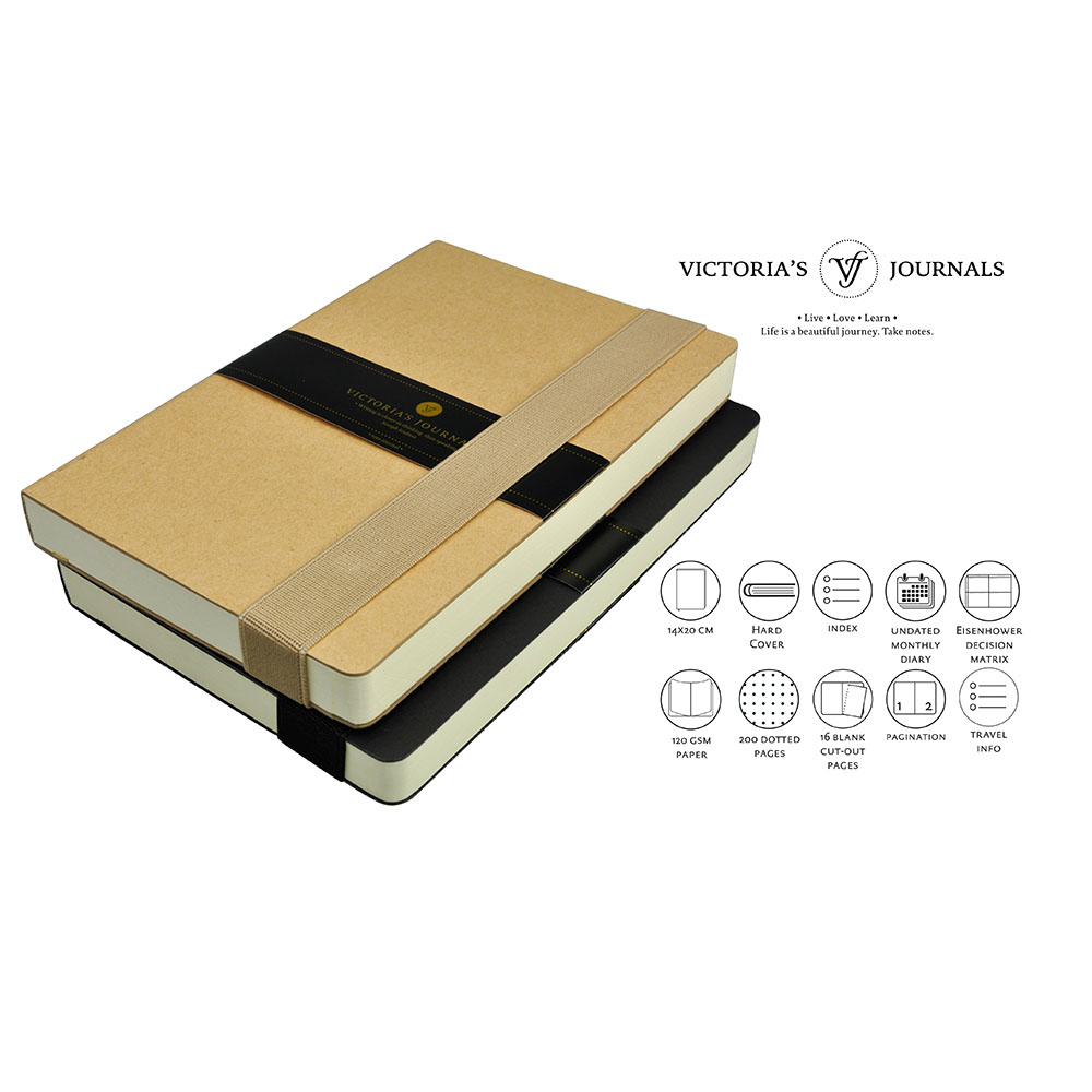 Victoria's Journals Bullet Journal Copelle Kraft Hard Cover Notebook Dotted Bujo