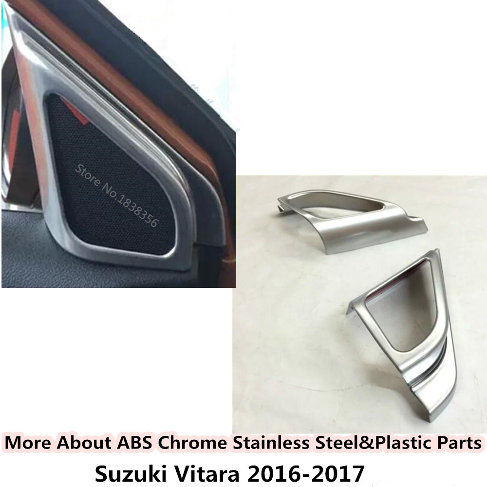For Suzuki Vitara 2016 2017 2018 Stick Abs Chrome Car Frame Inner A Column Audio Speak Sound Cover Ring Circle Lamp Trim 2pcs Strengthening Waist And Sinews Automobiles & Motorcycles