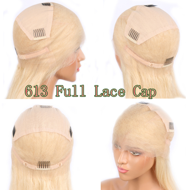 #613 Pre Plucked Glueless Full Lace Human Hair Wigs Straight with Baby Hair Around Free Part Brazilian Remy Hair Wig 5