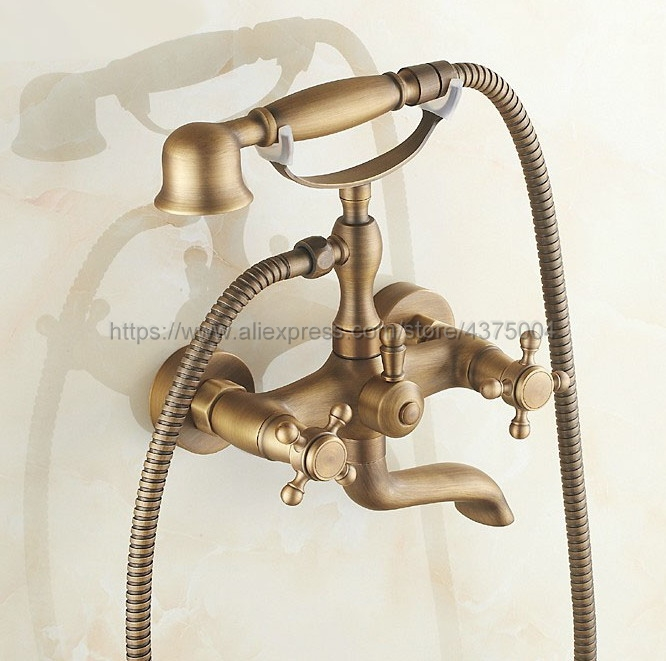 Antique Brass Dual Cross Handles Wall Mounted Bathroom Tub Faucet with Hand Held Shower Sprayer Ntf151 lacoste поло