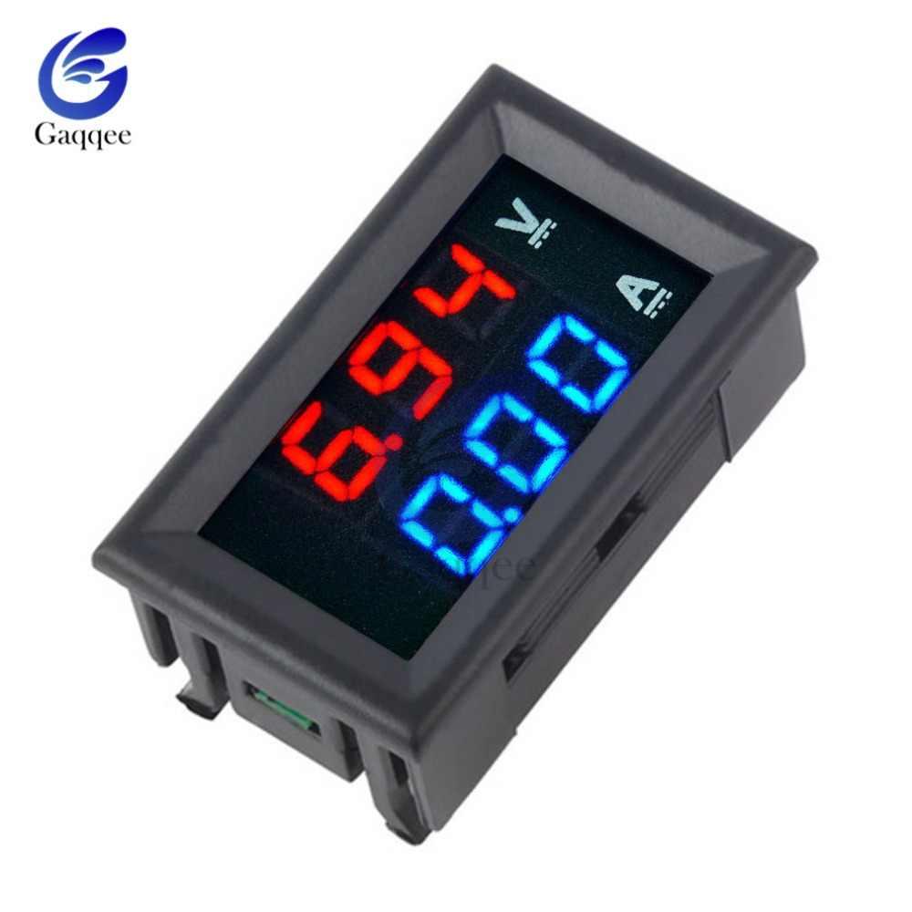 """デュアル led ディスプレイミニデジタル電圧計電流計 dc 100 v 10A パネルアンプ電圧電圧電流メーターテスター 0.56 """"白/黒ケース"""