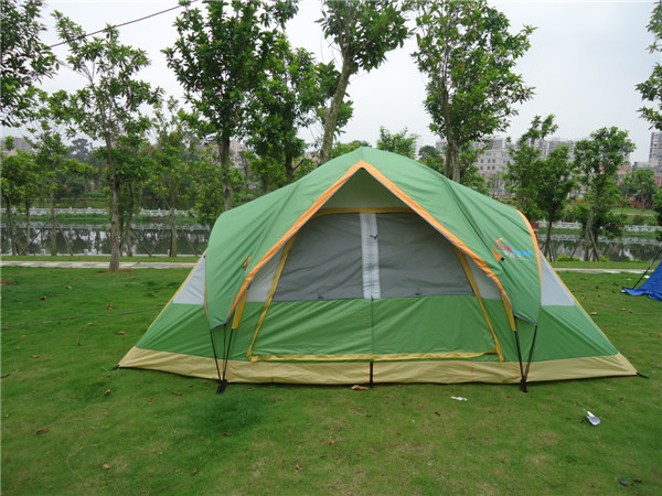 5-6 persons large family tent camping tent sun shelter gazebo beach tent tunnel tent for Advertising/exhibition octagonal outdoor camping tent large space family tent 5 8 persons waterproof awning shelter beach party tent double door tents