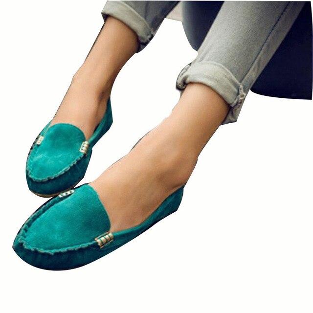 2017 Весна женщины квартиры обувь женщина случайные плоские мокасины обувь скользит кожаные черные плоские женская Обувь Мягкой Круглым Носком OR642712