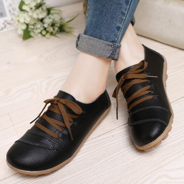 shoes woman plus US size 12 13 women genuine leather shoes comfortable flat  shoes woman flats non-slip women shoes 2080 6919dc5da