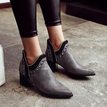 645153bfba485 pointed toe PU zipper rivet motorcyle boots thick high heels charcoal grey  women shoes studded ankle boots big size 42